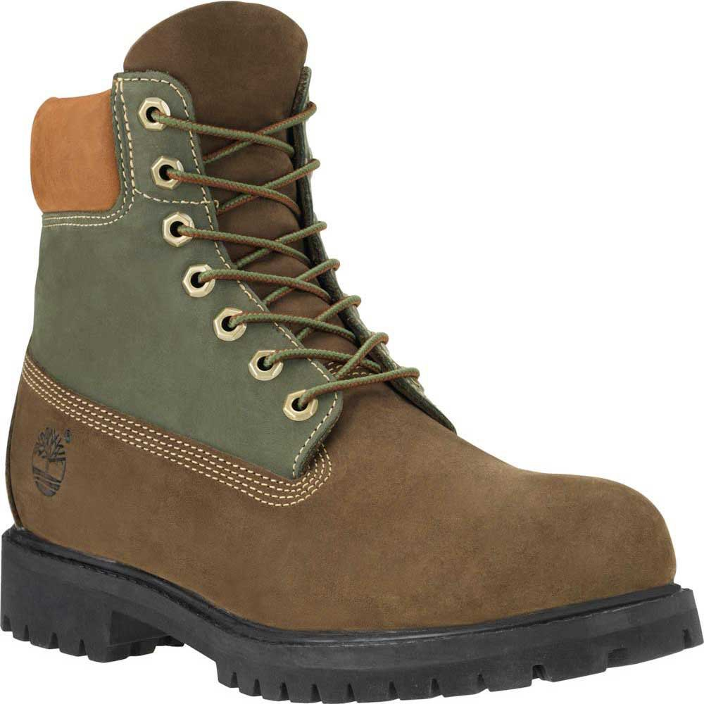 timberland icon 6 in premium boot green and brown nubuck