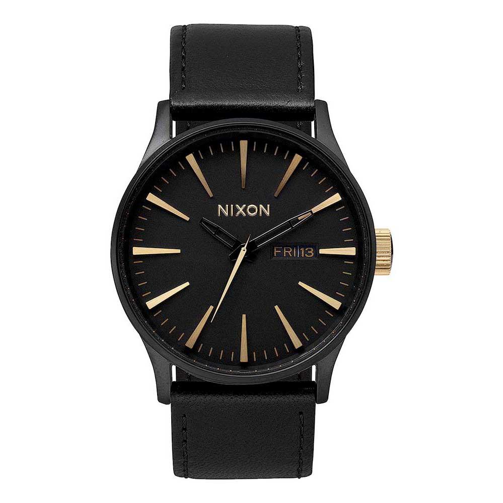 Relógios Nixon Sentry Leather One Size Matte Black / Gold