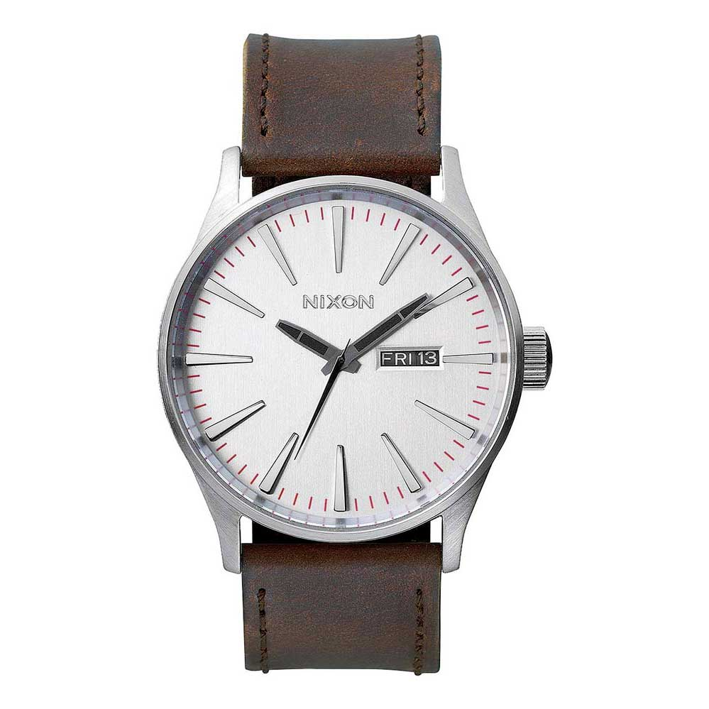 Relógios Nixon Sentry Leather One Size Silver / Brown