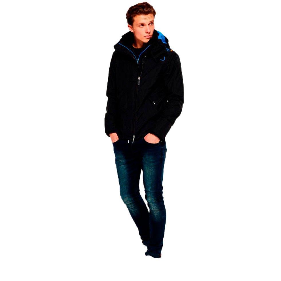 New Mens Superdry Pop Zip Hooded Arctic SD-Windcheater Black