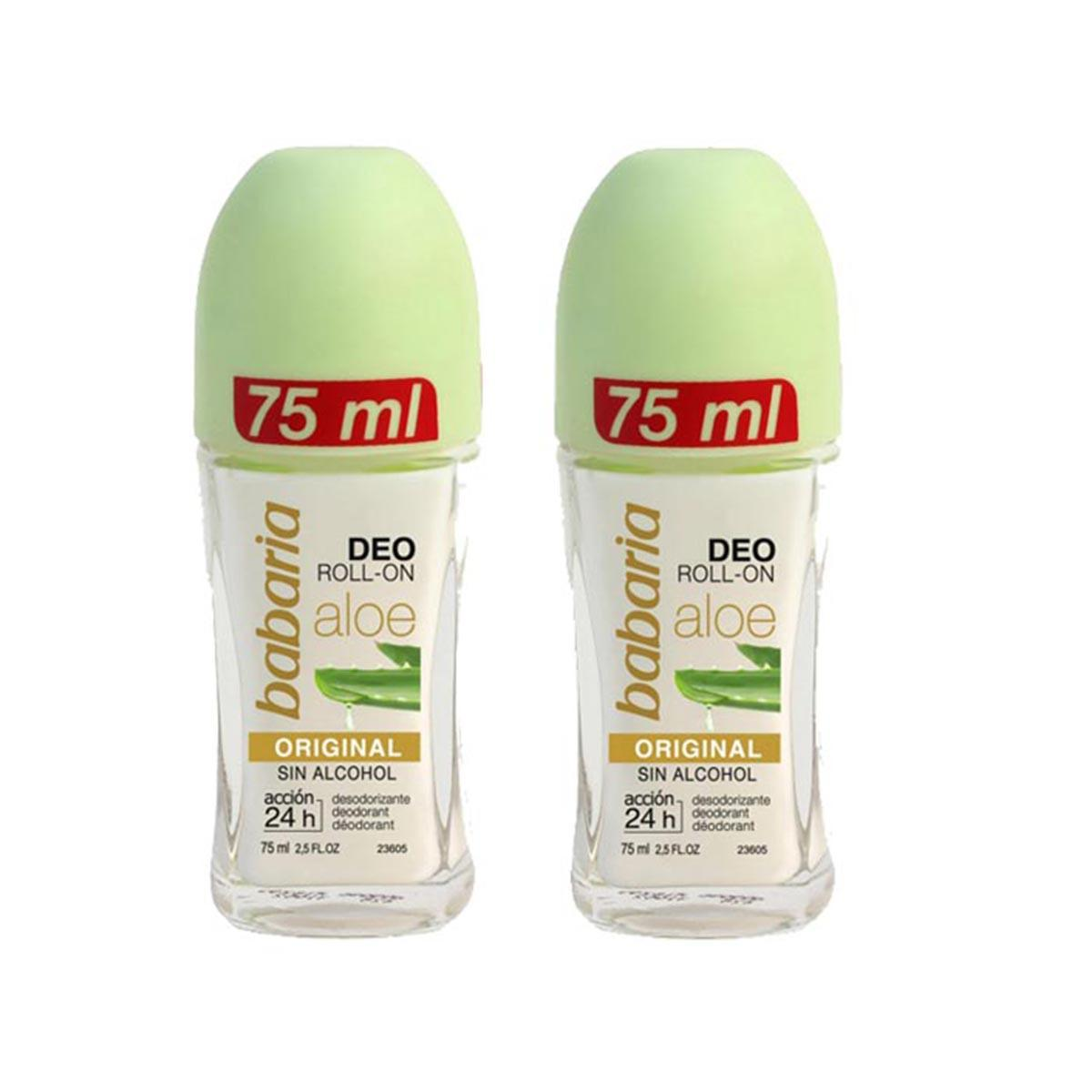 Babaria Aloe Deodorant Rollon Original 75 ml X 2