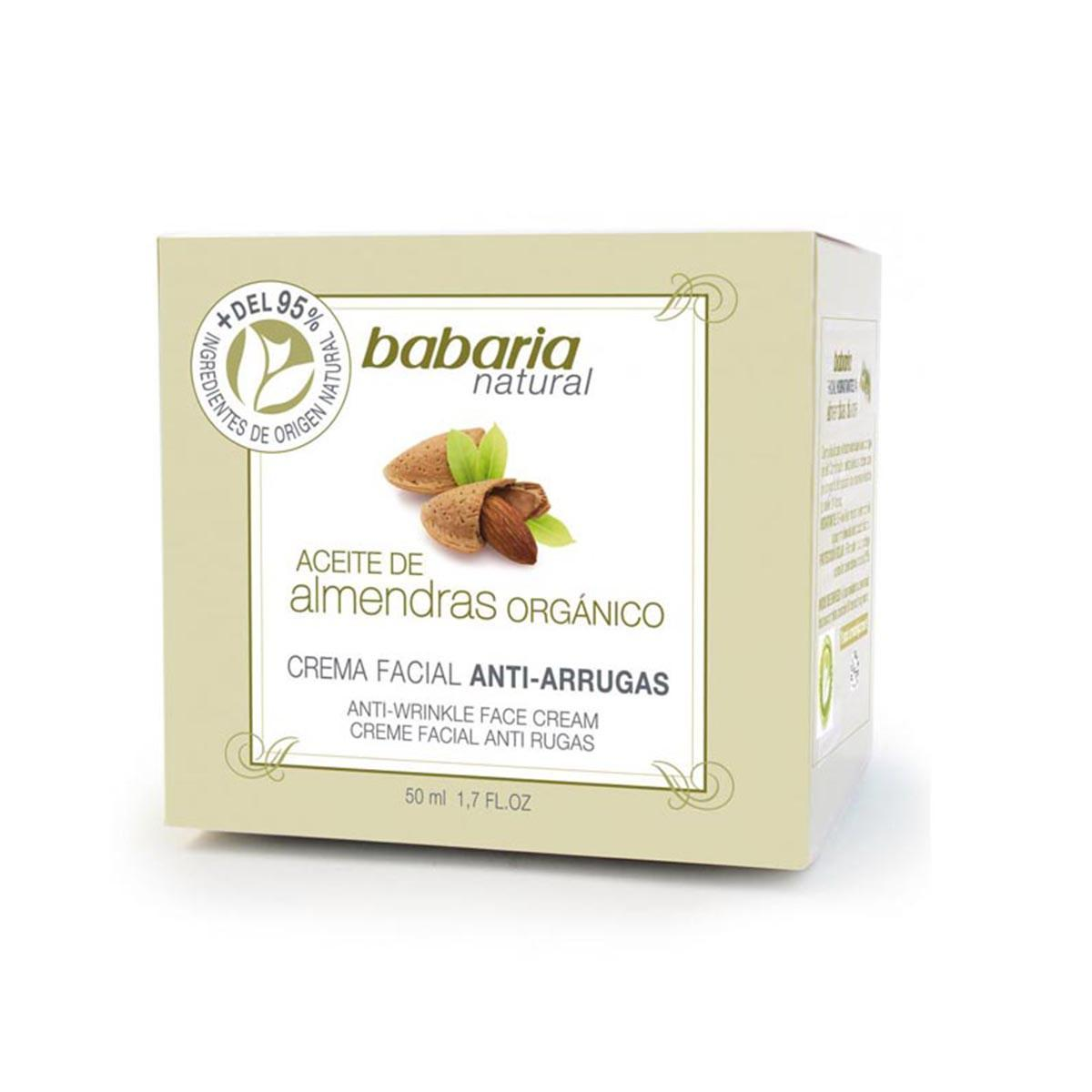 Babaria Natural Facial Anti Wrinkle Cream Almond Oil Organic 50 ml