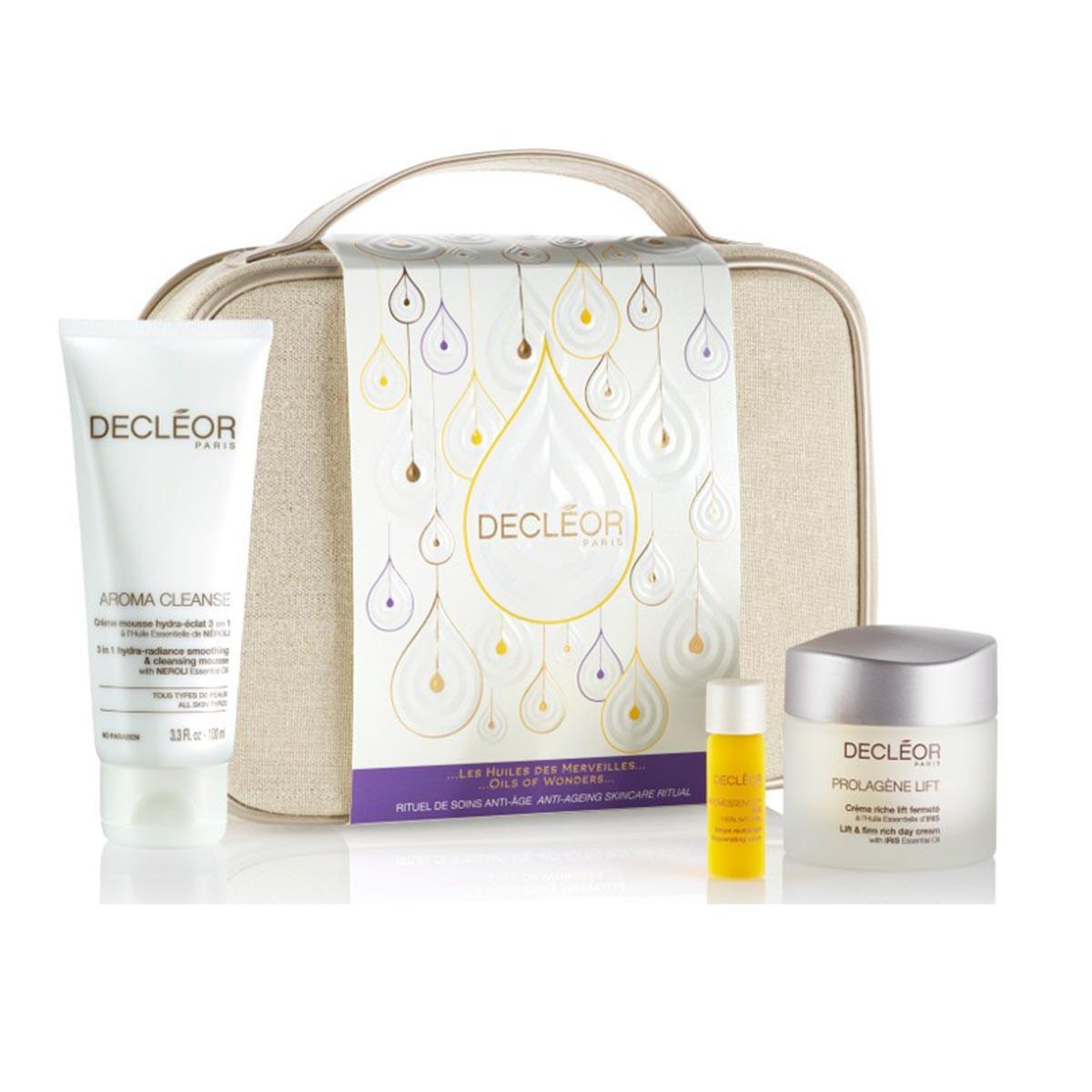 Decleor Prolagene Lieft Creme Riche 50 ml Aroma Cleanse Creme Mousse Hydraeclat 100 ml Aromessence Iris Serum 5 ml