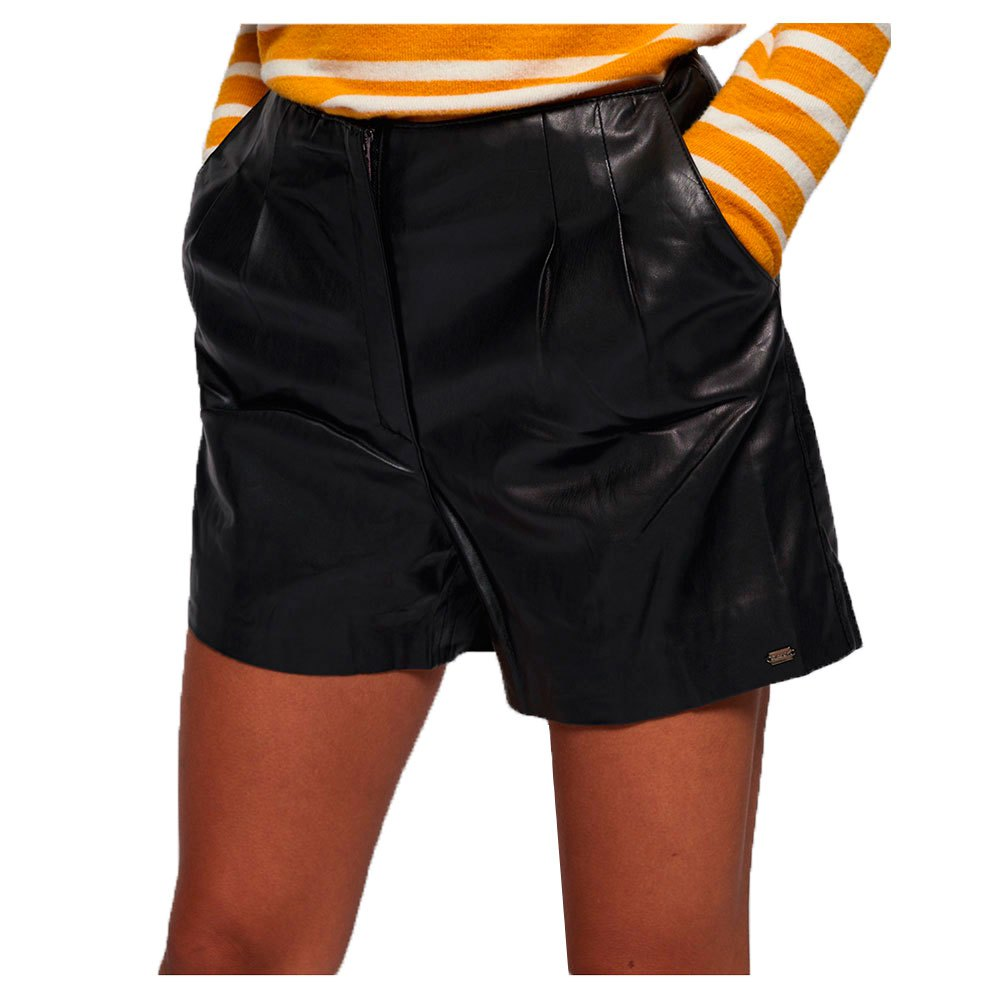 Superdry Lilya Pleat Leather Like Pantalones Cortos
