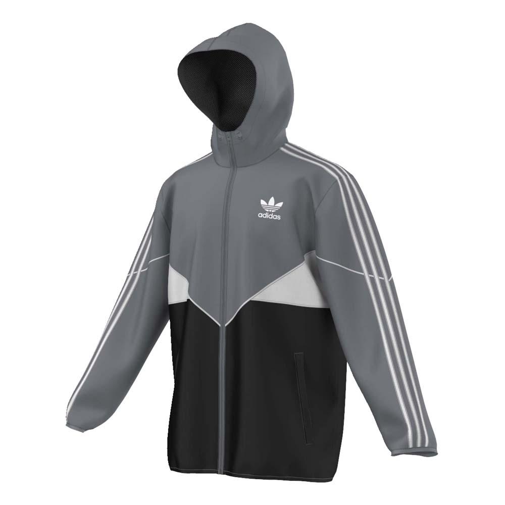 adidas originali crdo giacca a vento grigio / nero, dressinn