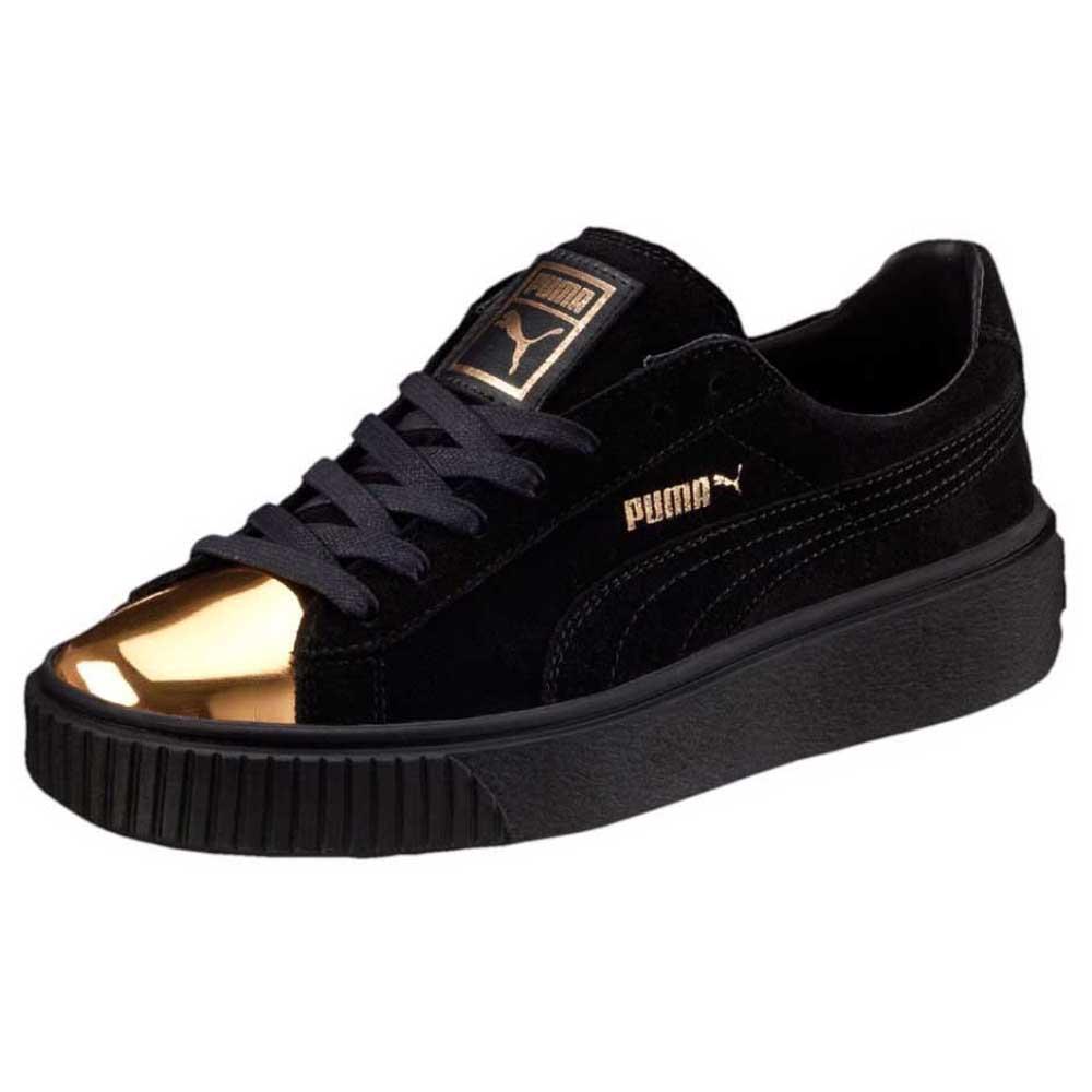 Puma Basket Plattform schwarz gold Gumsohle