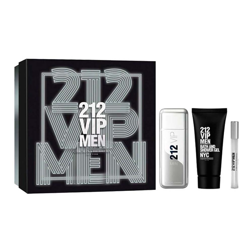 Carolina herrera fragrances 212 Vip Men Eau De Toilette 100ml Shower Gel 100ml Eau De Toilette 10ml