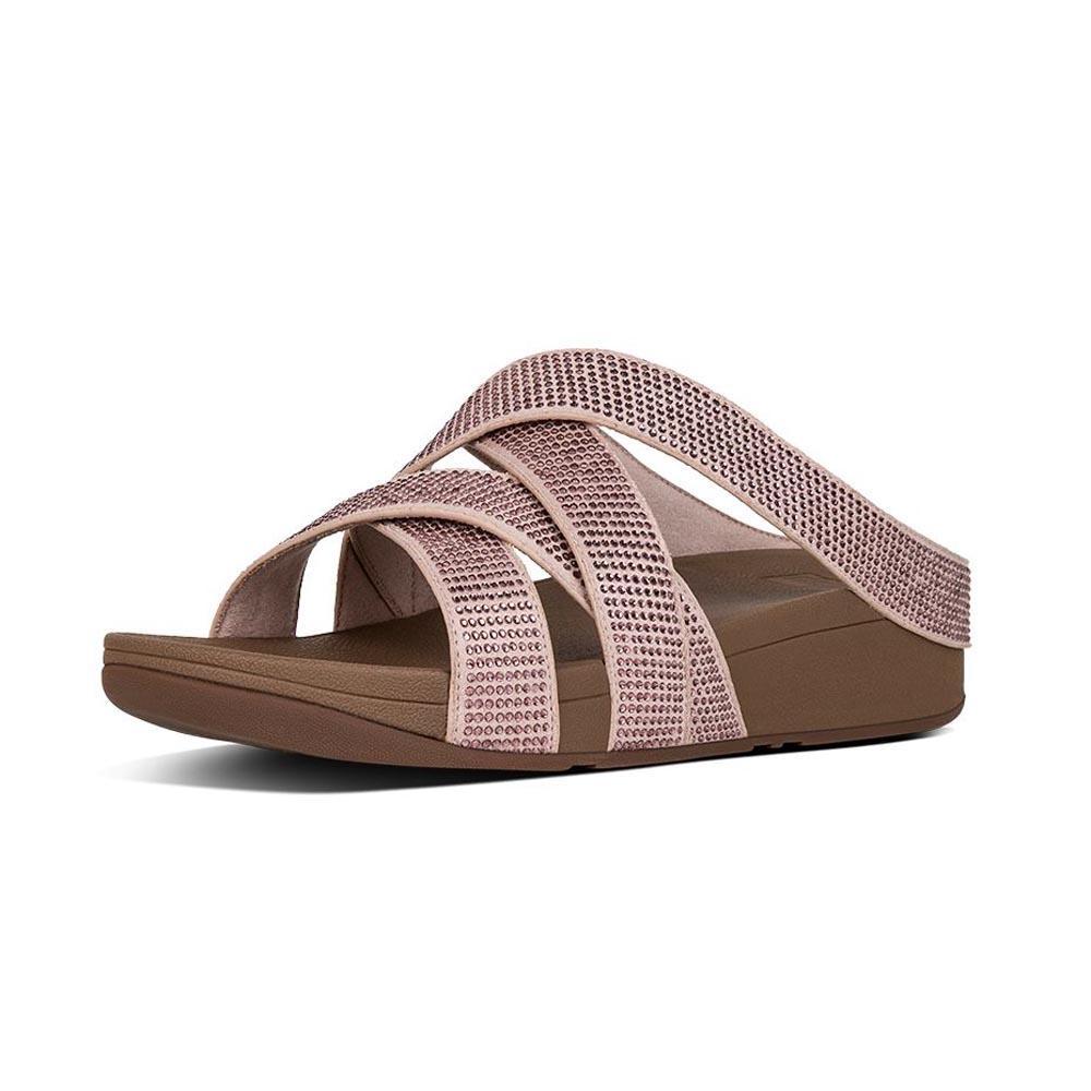 41880bbbba22 Fitflop Slinky Rokkit Criss Cross Slide Pink