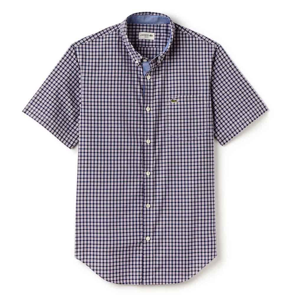 d0a7161cb4 Lacoste Slim Fit Mini Check Poplin Shirt Purple, Dressinn