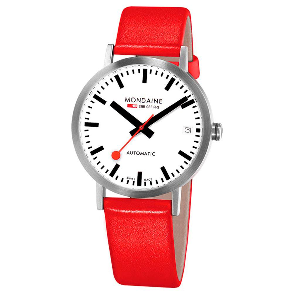 Relógios Mondaine Classic Automatic 33 mm White / Red Leather