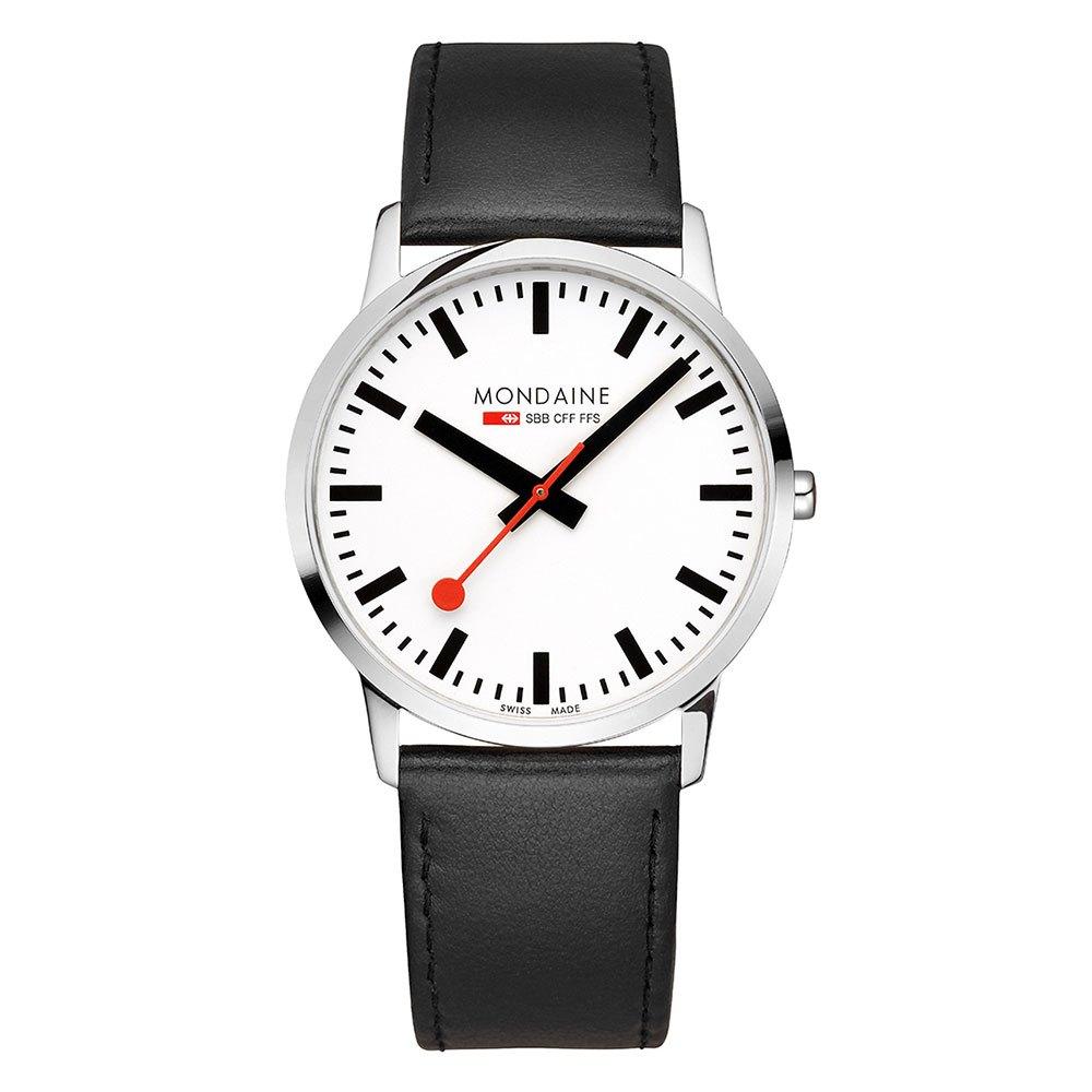 Relógios Mondaine Simply Elegant 41 mm White / Black Leather