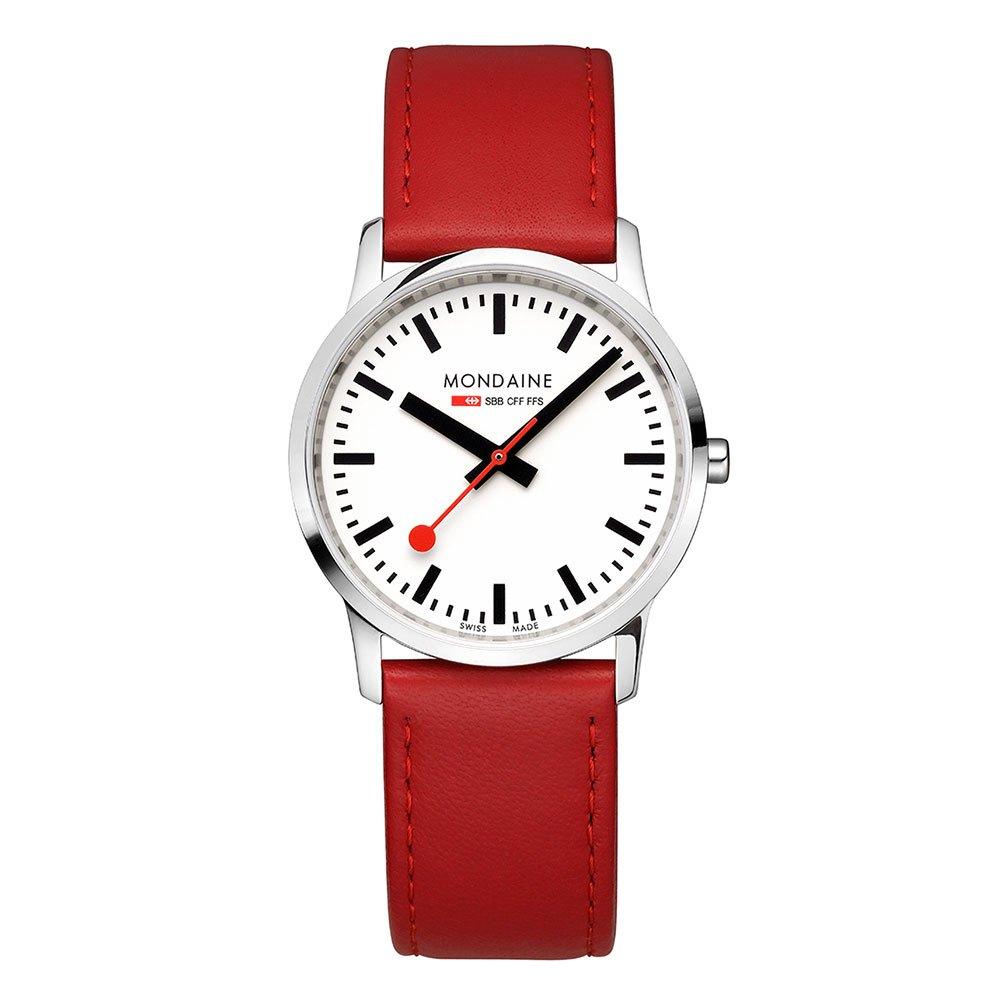 Relógios Mondaine Simply Elegant 36 mm White / Red Leather