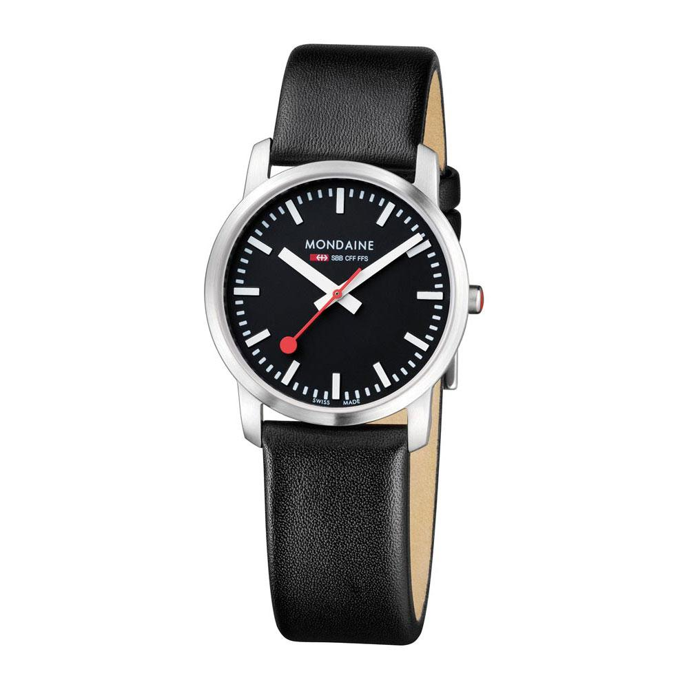 Relógios Mondaine Simply Elegant 41 mm Black / Black Leather