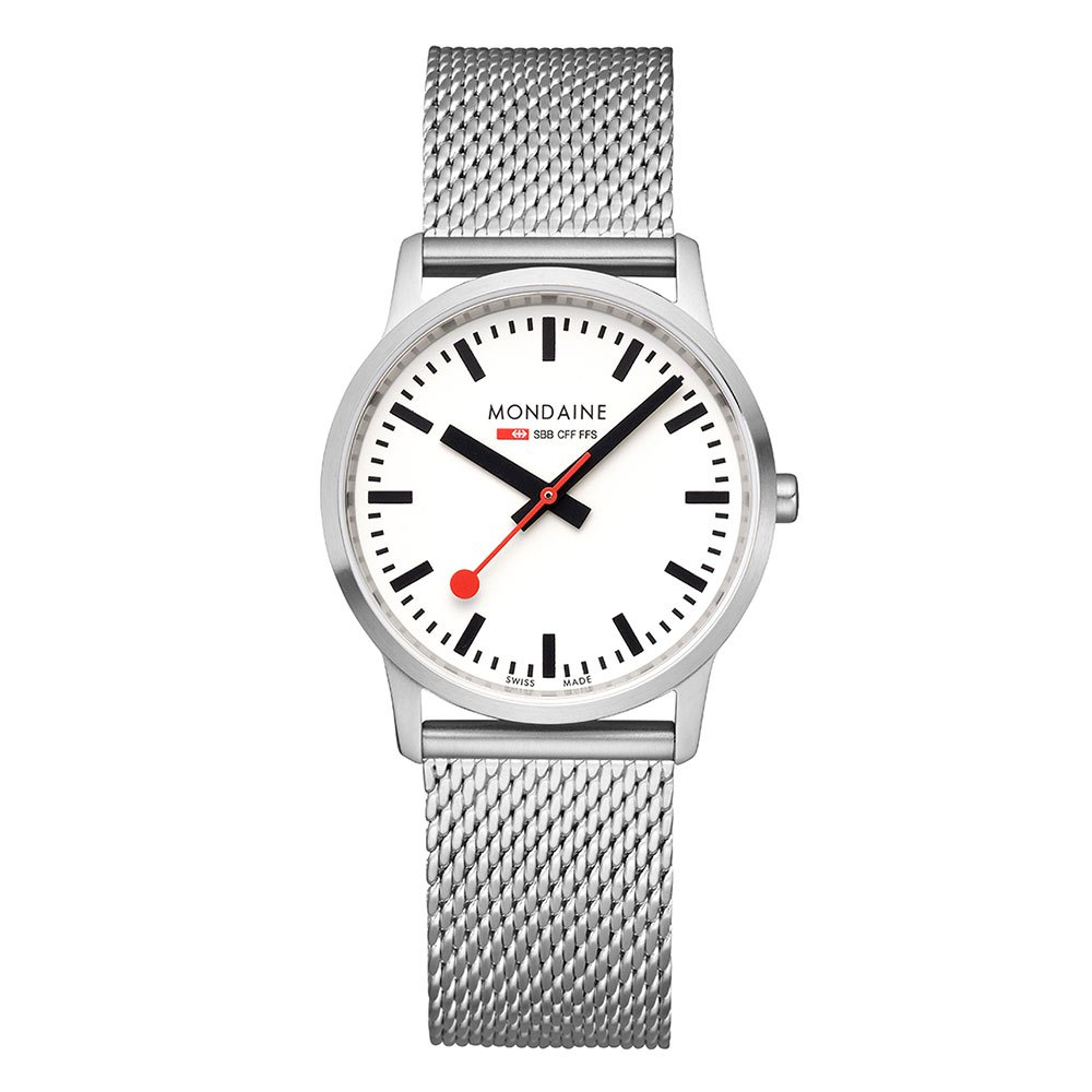 Relógios Mondaine Simply Elegant 36 mm White / Stainless Steel Mesh