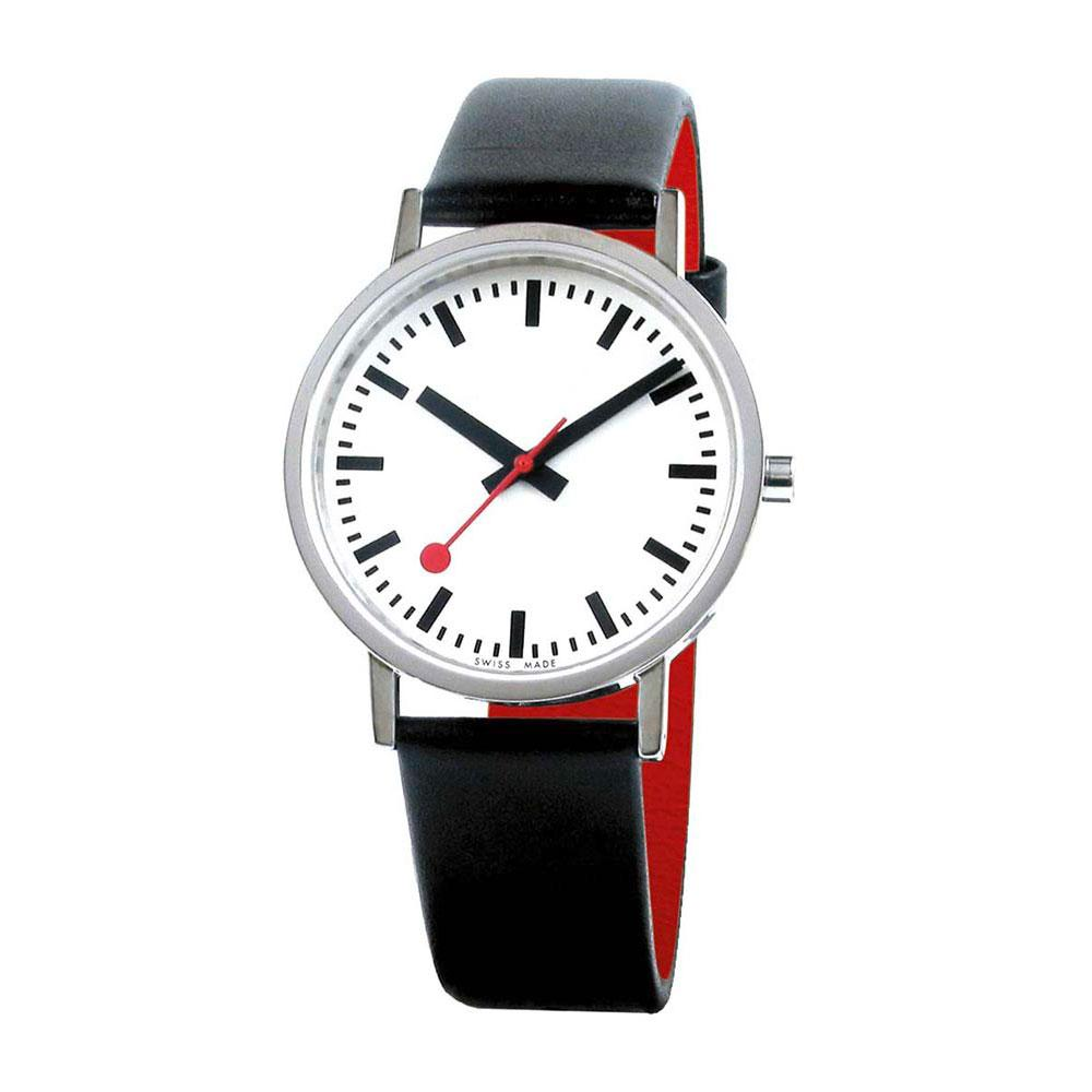 Mondaine Classic Pure 36 mm White / Black Leather / Red Lining