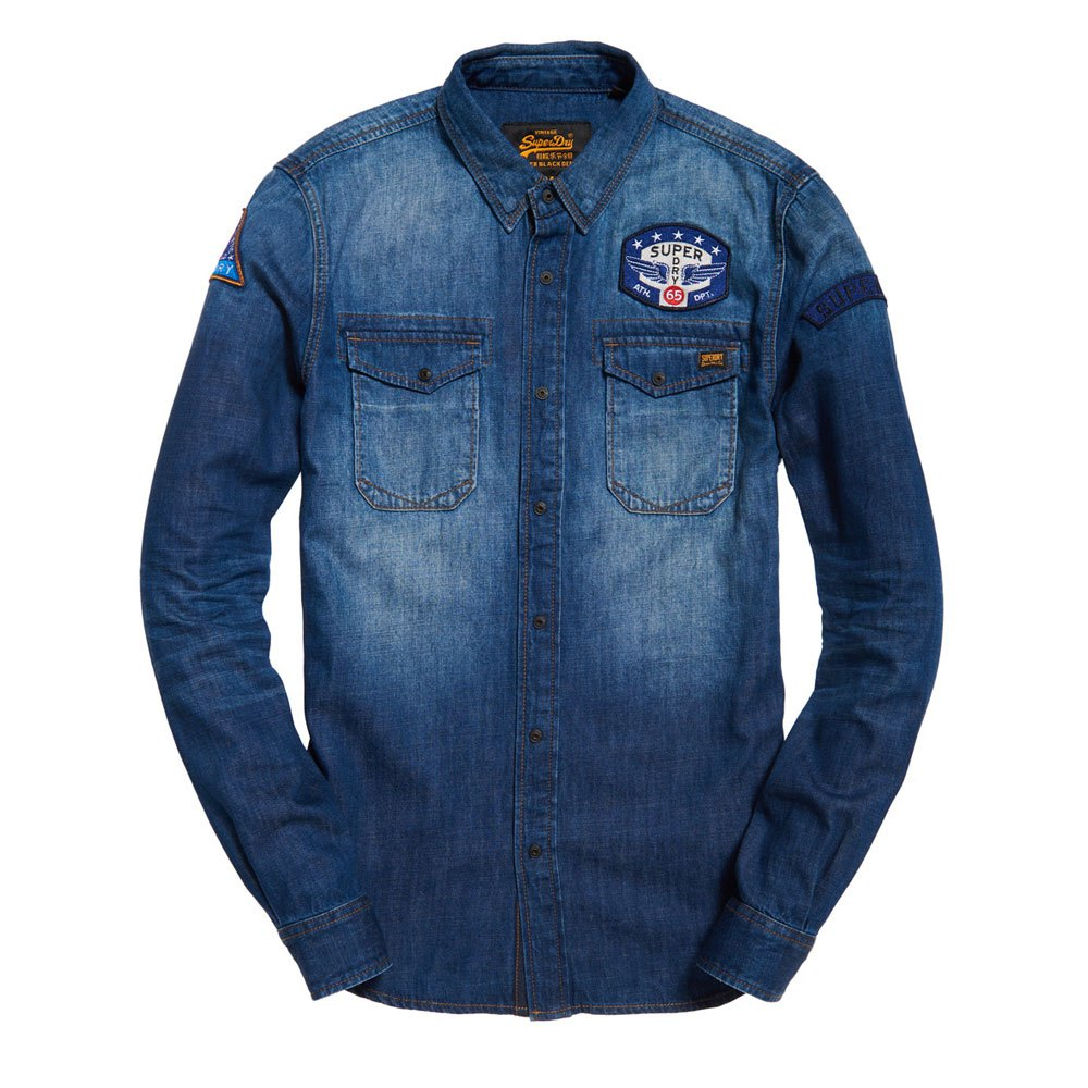 4355652c22 Superdry Dragway Patch Denim L S Shirt Azul