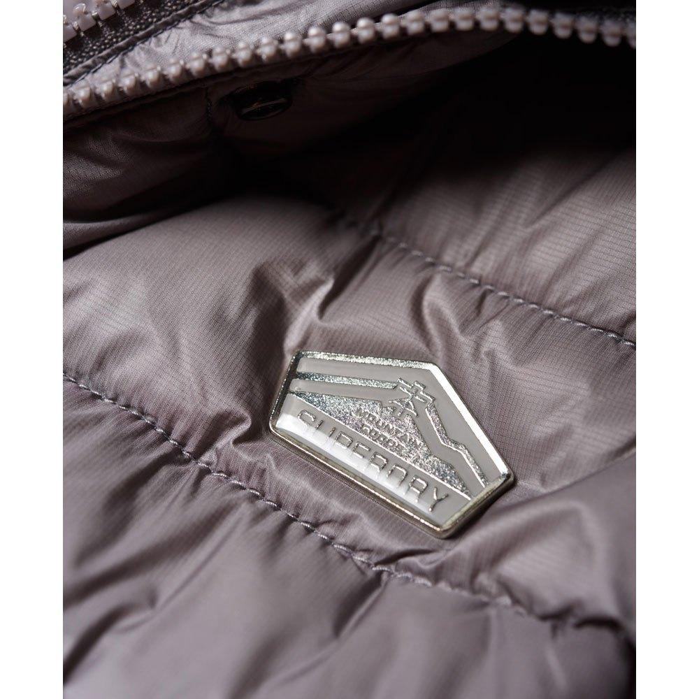 Superdry Luxe Fuji Double Zip Vest Argent, Dressinn