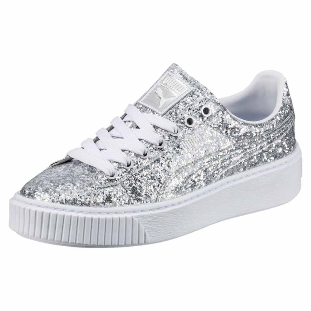 1a348b3ae13f Puma select Basket Platform Glitter Silver