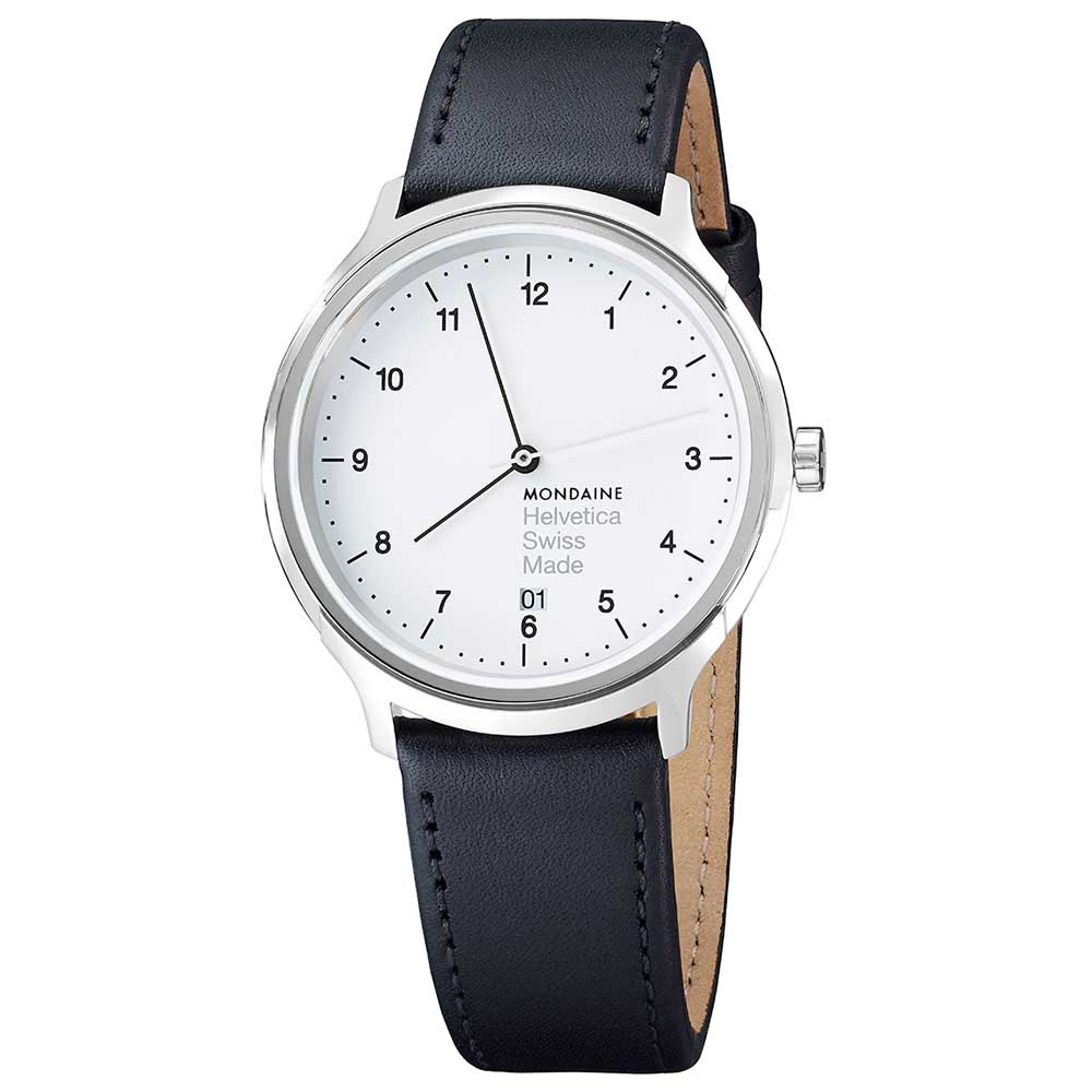 Mondaine Helvetica No1 40 Regular 40 mm White / Black Leather