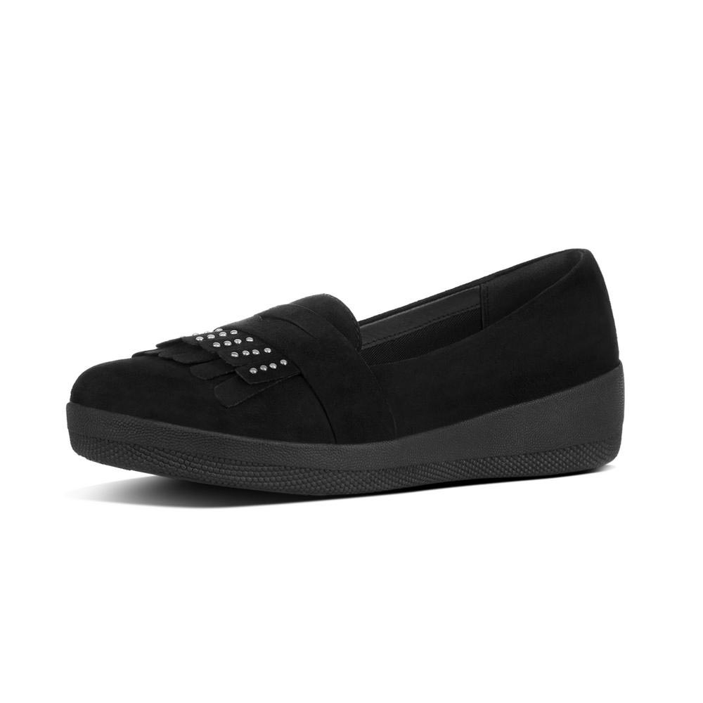 07e55fb45bb8 Fitflop Studded Fringey Loafer Negro