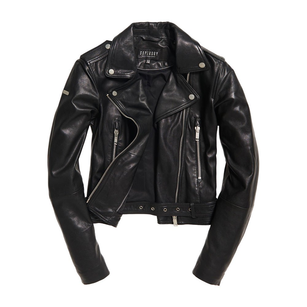 e6f9b42c7656 Superdry Tier Leather Biker Black buy and offers on Dressinn