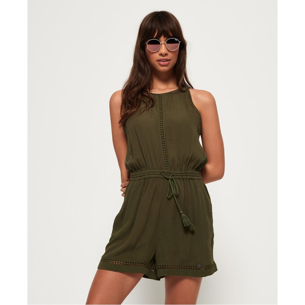 cb97b3787e3 Superdry High Neck Playsuit Green buy and offers on Dressinn
