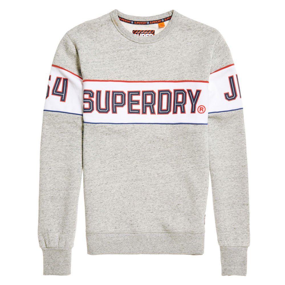 Superdry Mens Retro Stripe Crew Sweatshirt Jumper Grey