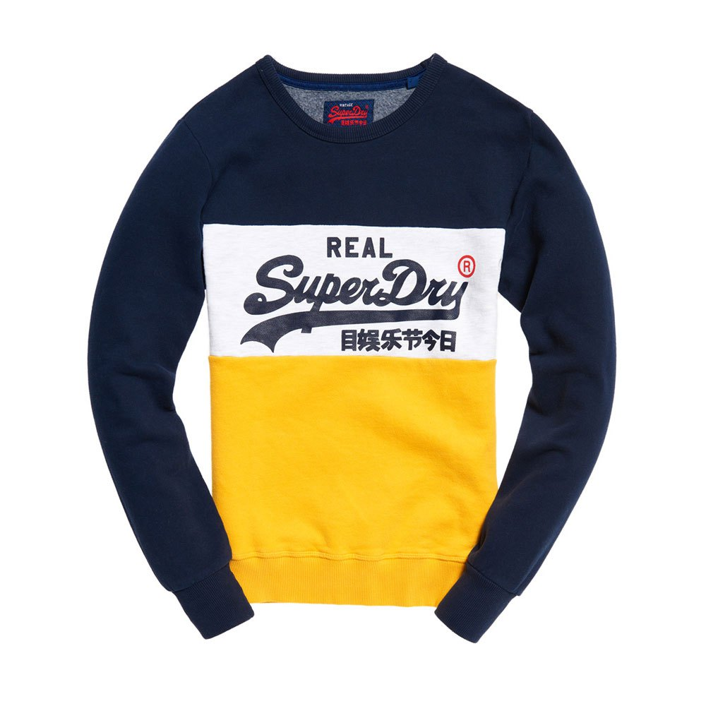 4fc30519a7a35 Superdry Vintage Logo Panel Crew Yellow