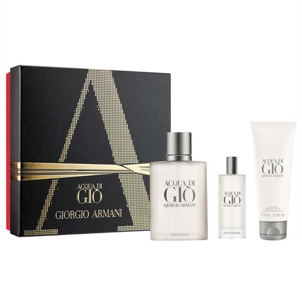 ecb9be978 Giorgio armani fragrances Acqua Di Gio Eau De Toilette Pour Homme 100ml  Vapo+Shower Gel 75ml+Mini 15ml, Dressinn