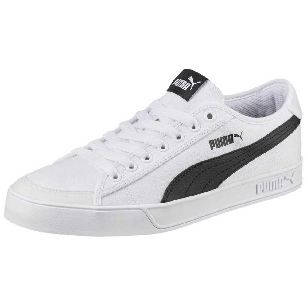 Puma SMASH V2 VULC CV Black White Canvas Sneakers Best