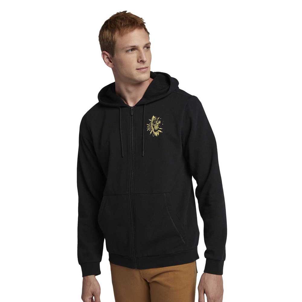 Hurley ORIGINAL PULLOVER Black Grey White Logo Pocket Sweatshirt Men/'s Hoodie
