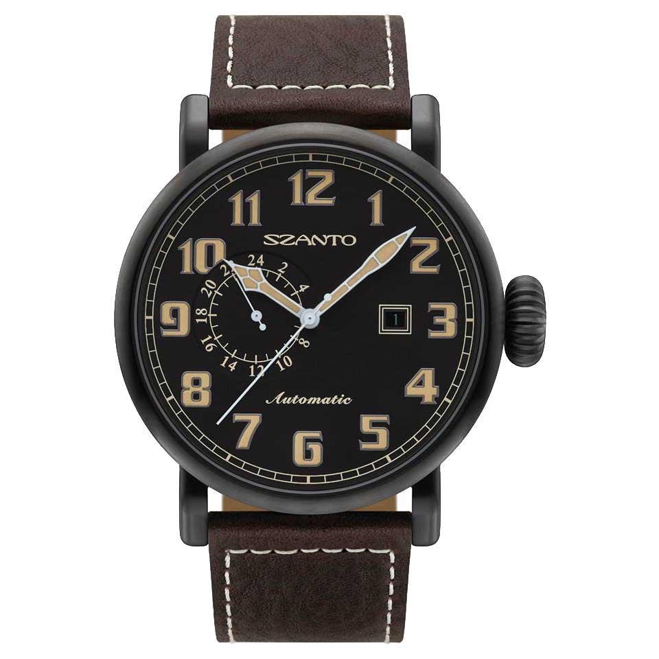 Szanto 6102 Big Aviator Automatic One Size Black Steel / Black / Leather Brown