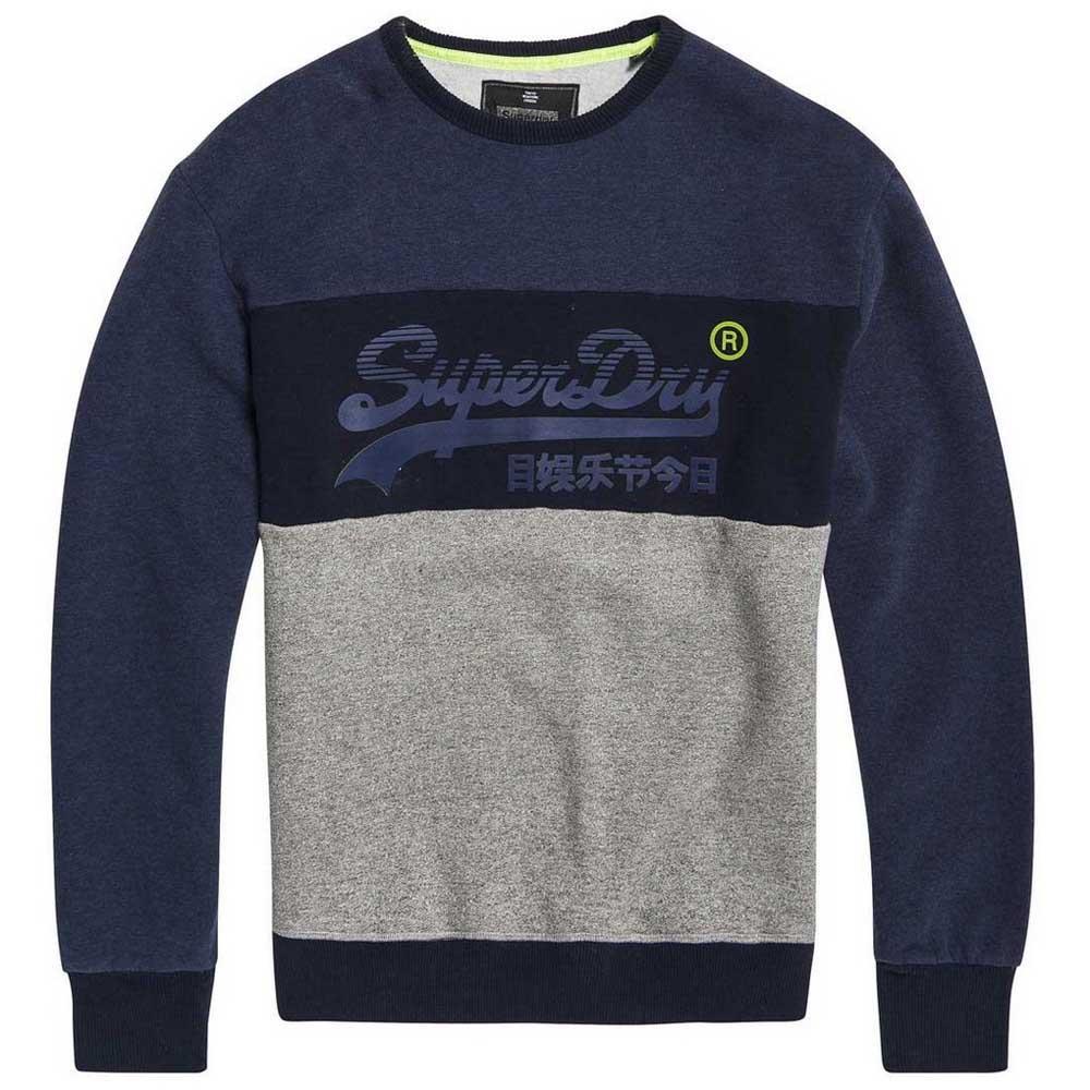 6977cdb67 Superdry Vintage Logo Panel Crew Blue buy and offers on Dressinn