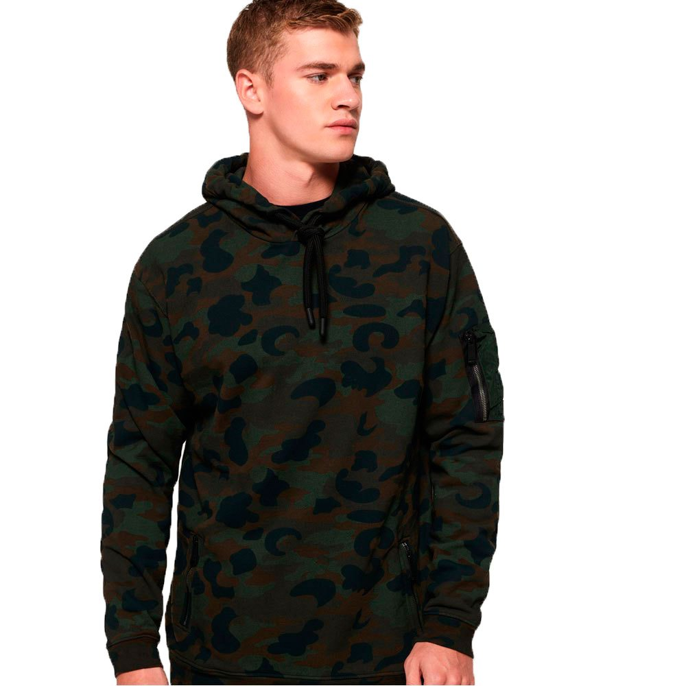 Mens Superdry Rookie Oversize Hoodie Green Camo 100/% Cotton NEW