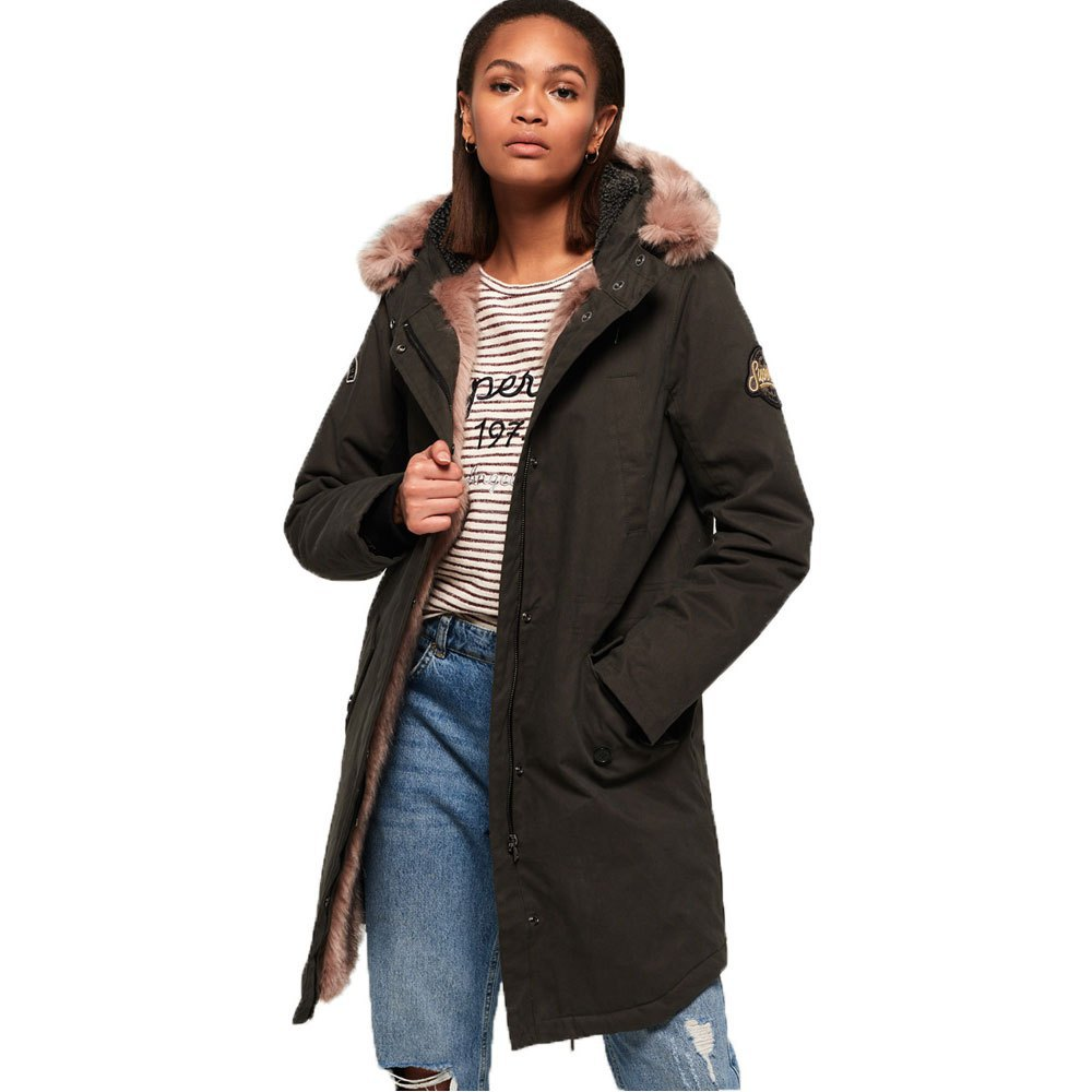 online for sale a few days away best quality Superdry Frankie Faux Fur Lined Parka Green, Dressinn