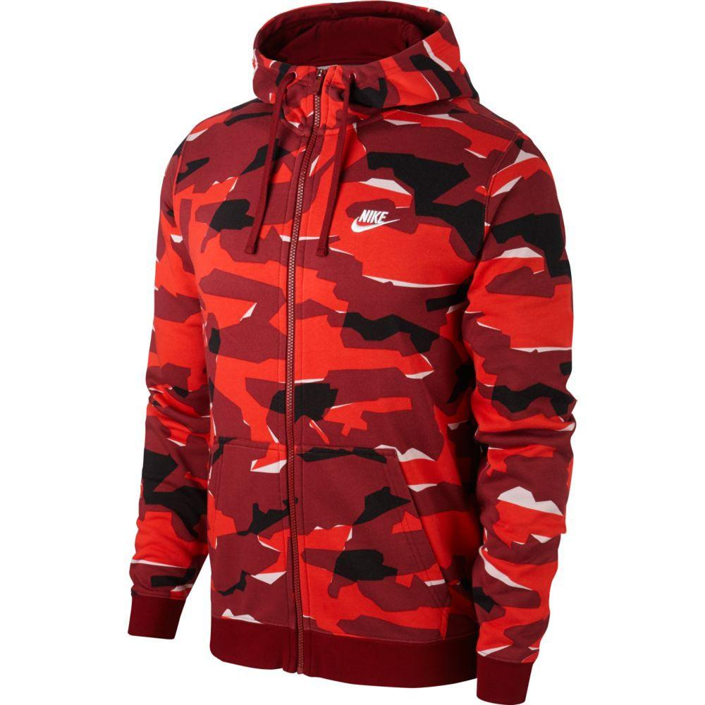 95a313e146b2 Nike Sportswear Club Camo Full Zip Hooded Red