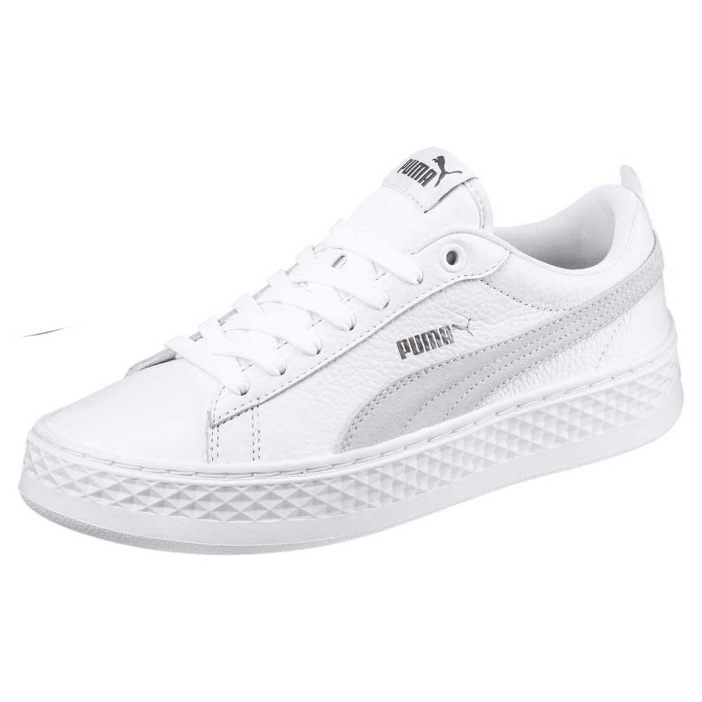 all white platform pumas