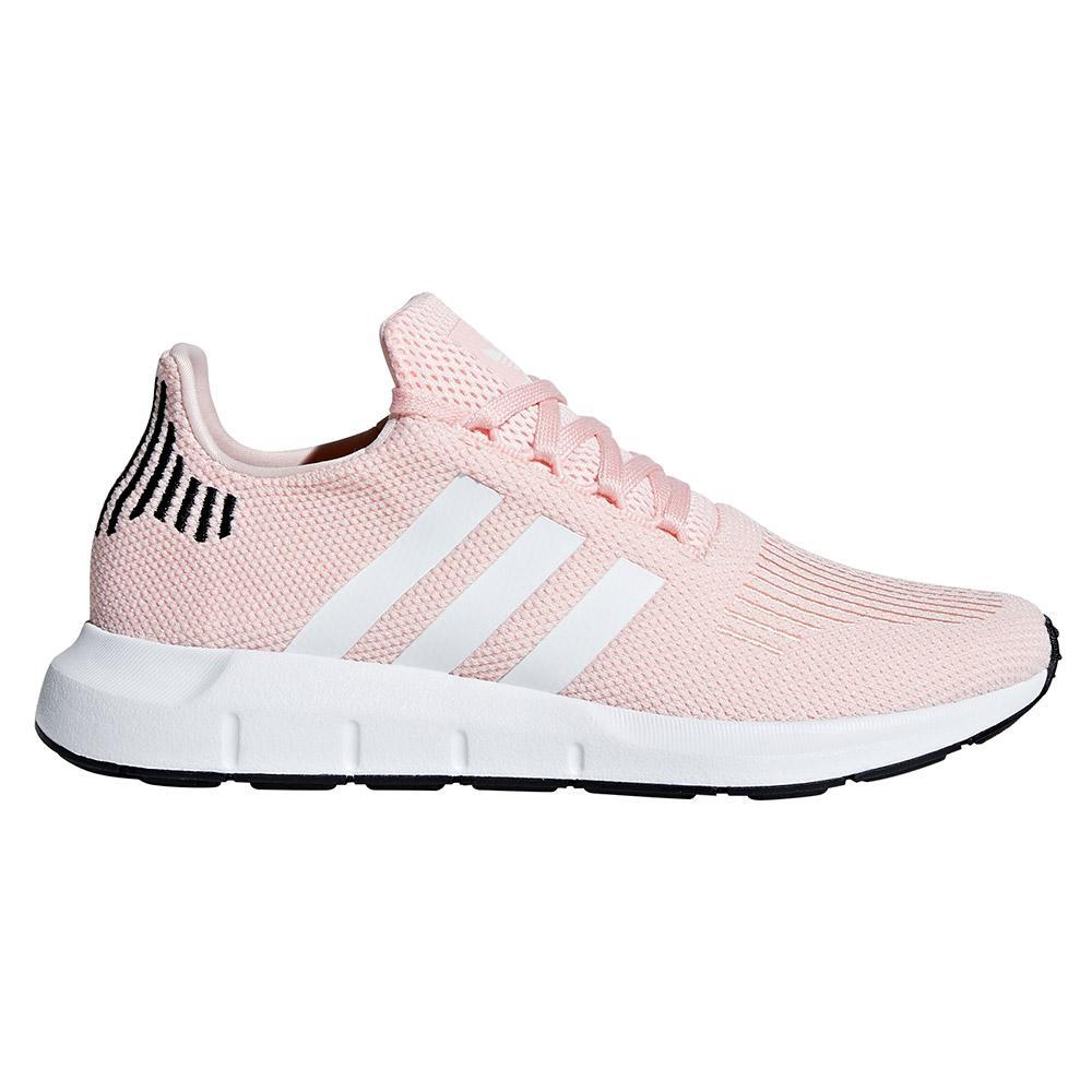 adidas Originals Swift Run Trainers In Grey With Pink Stripe
