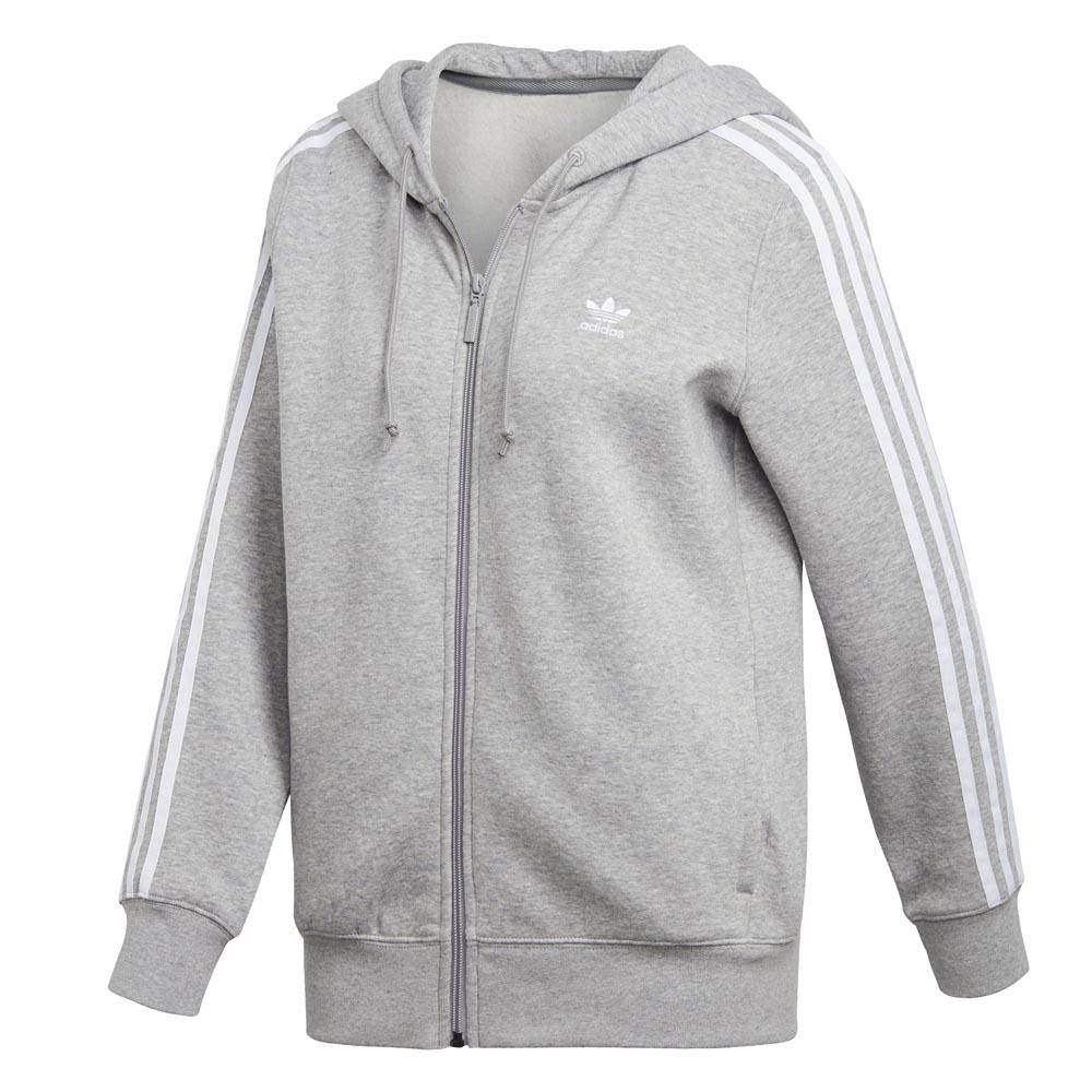 adidas originals 3 Stripes Zip Hoodie Gris, Dressinn