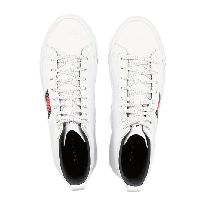 54be4ff7b542 Tommy hilfiger Flag Detail Leather High Tops White