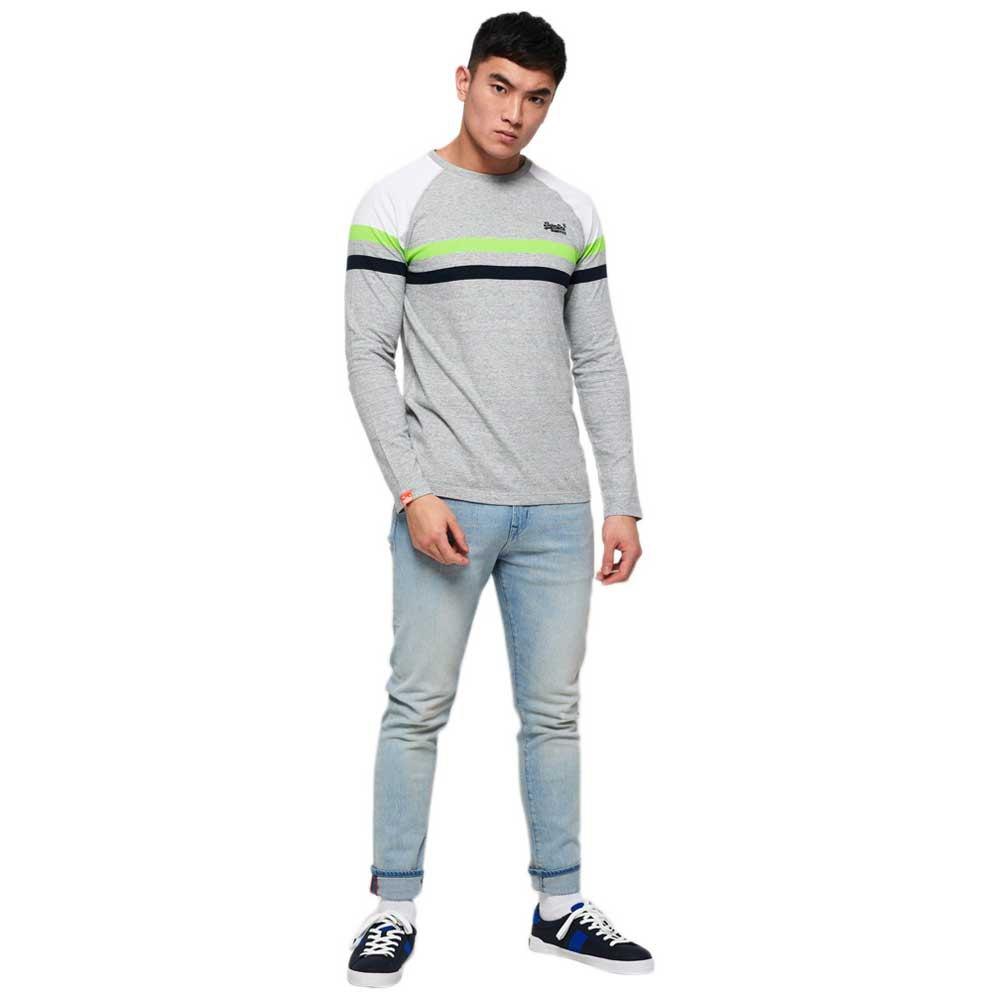 Superdry Mens Orange Label Engineered Panel Long Sleeve T-Shirt