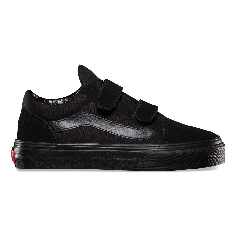 vans youth black leather old skool