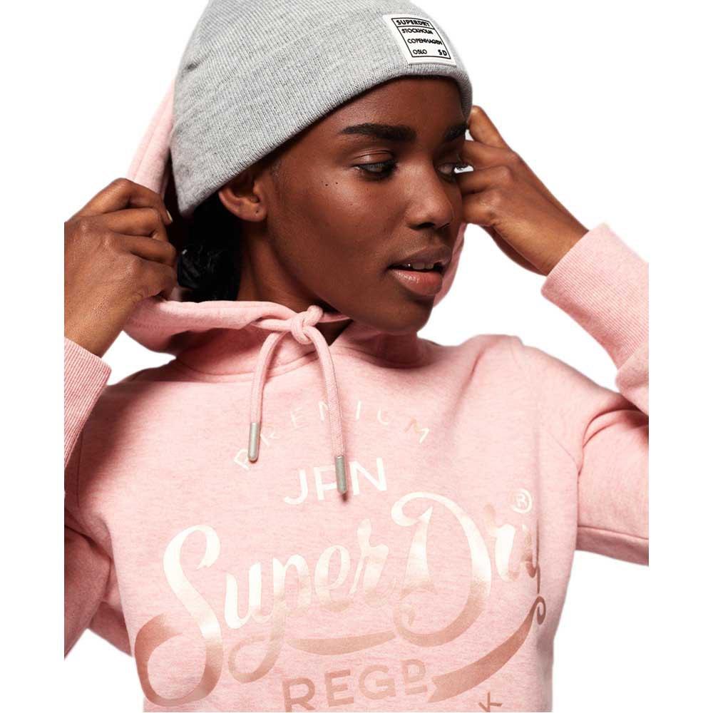 Superdry Womens Premium Script Pastel Satin Hoodie