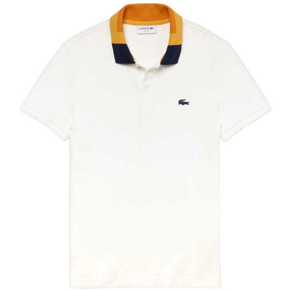 Camisa Polo Lacoste Original Fit Masculina Roxo e Branco