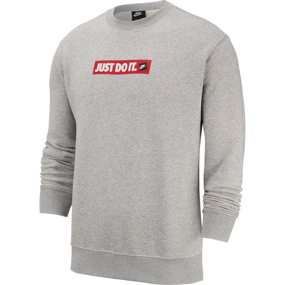 NIKE JUST DO IT CREW FLEECE HYBRID SWEATER GRIJS HEREN