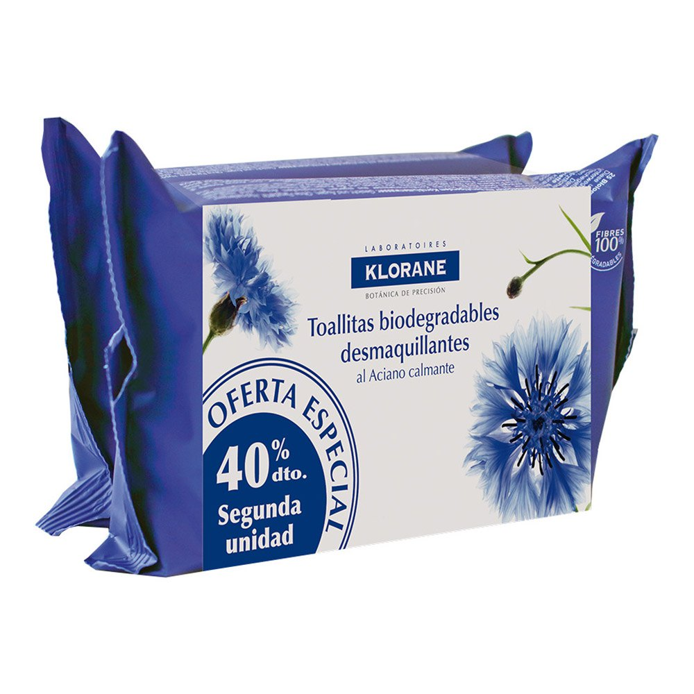 Klorane Biodegradable Cleansing Wipes 2x25 Units