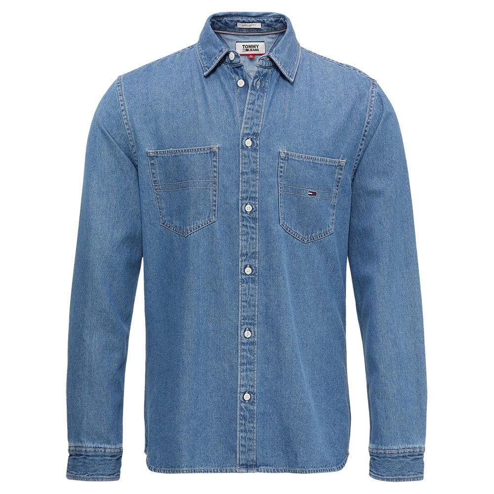 Tommy Hilfiger Mens Indigo Regular Fit Cotton Non-Iron Gingham Dress Shirt XL
