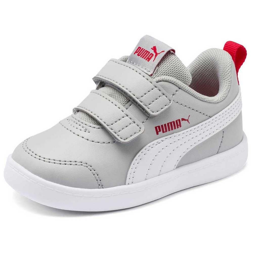 Puma Courtflex v2 Velcro Infant Trainers Grey, Dressinn