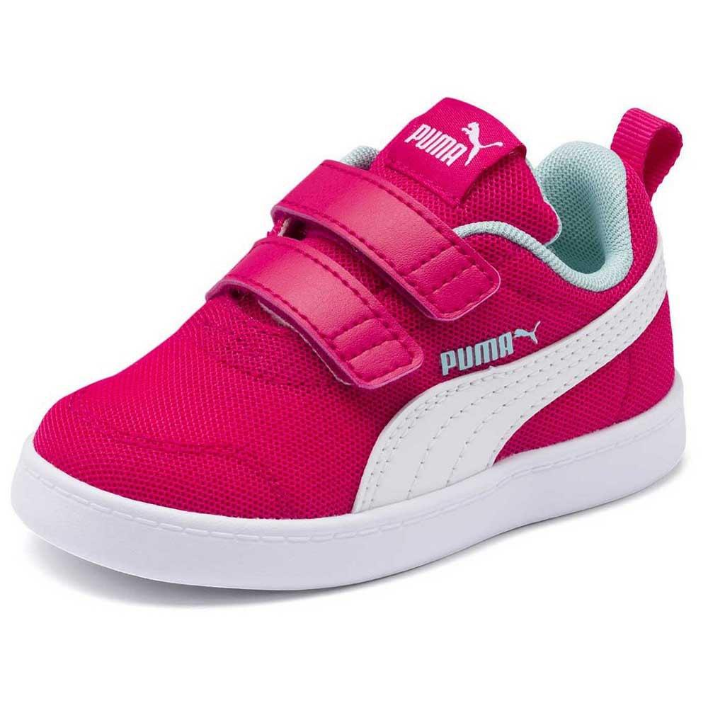 Puma Courtflex v2 Mesh Velcro Infant Trainers Pink, Dressinn