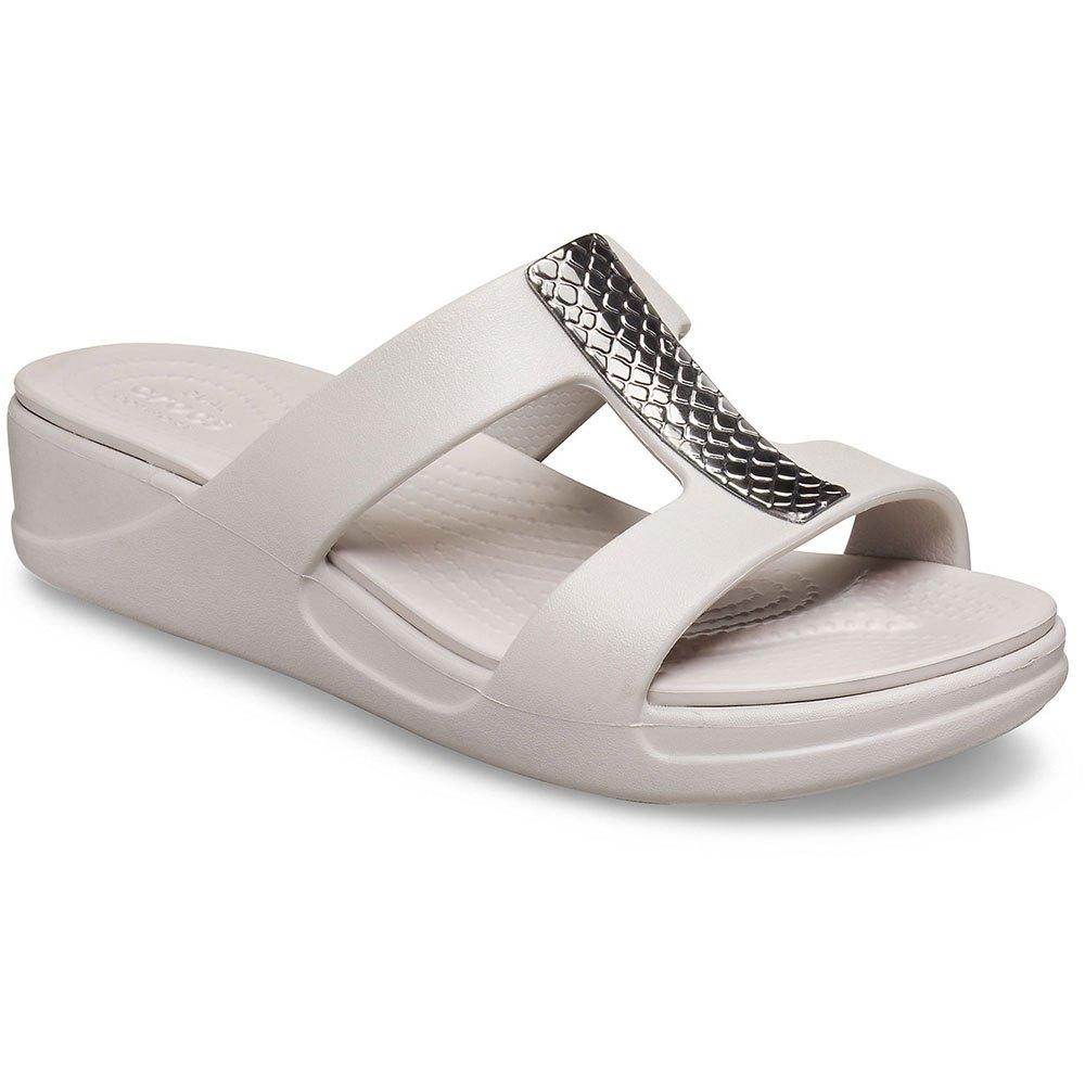 Crocs Monterey Metallic Wedge W ベージュ